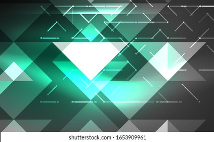 Abstract background, mosaic triangle pattern with transparent effects on glowing neon shiny backdrop. Vector Illustration For Wallpaper, Banner, Background, Card, Book Illustration, landing page