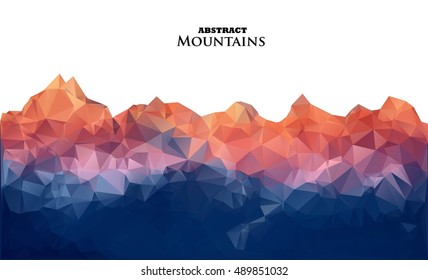 Abstract background with mountains in polygonal style. Vector illustration. Design element. Text tittle. White background.