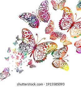 Abstract background multicolored butterfly. Mixed media. Vector illustration