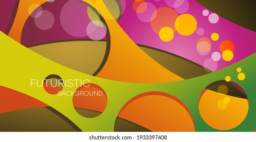 Abstract background with multicolored geometric shapes, vector illustration. Multifunctional design can be used as a festive background, postcard. Bright multi-colored illustration.