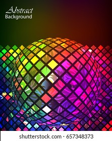 Abstract background. Multicolored mosaic sphere with floral elements.