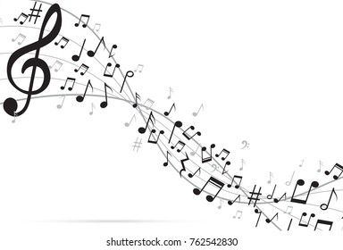 Abstract Background Music Notes Vector Illustration