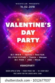 Abstract background with neon heart. Design for Valentine's Day party flyers, posters or banners. Dance party poster with particles, lines, highlight and wireframe of heart. Vector illustration.