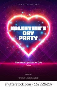 Abstract background with neon heart. Design for your Valentine's Day party flyer, poster, banner, card. Dance party poster with particles, lines, flares, highlight and neon heart. Vector