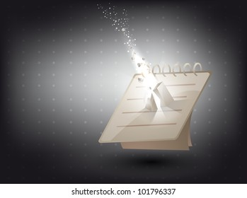 abstract background -notebook  in 3D with light effect