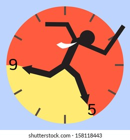 Abstract background on businessman running between nine to five o'clock. 9 to 5 job concept. Vector illustration.