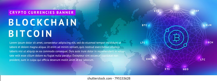 Abstract background on the theme of blockade and crypto currency in blue and purple colors for the design of banners, websites, polygraphy, magazines, booklets.