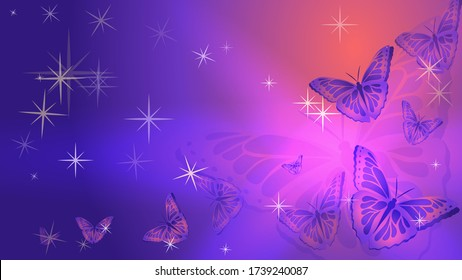 Abstract background. Openwork butterflies and stars on a blue-pink background. Vector illustration.