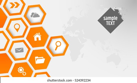 Abstract background with orange hexagonal vector pattern