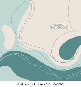 Abstract background with organic flowing shapes and freehand drawn lines. Modern minimalist design in scandinavian style. Vector illustration in pastel colors.