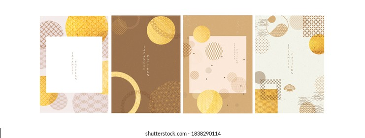 Abstract background in oriental style. Chinese new year banner. Geometric line with Japanese pattern vector. Circle shapes in oriental template. Gold texture template.