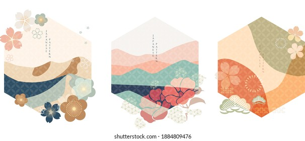 Abstract background in oriental style. Chinese new year icon. Geometric line with Japanese pattern vector. Peony flower and wavy object.