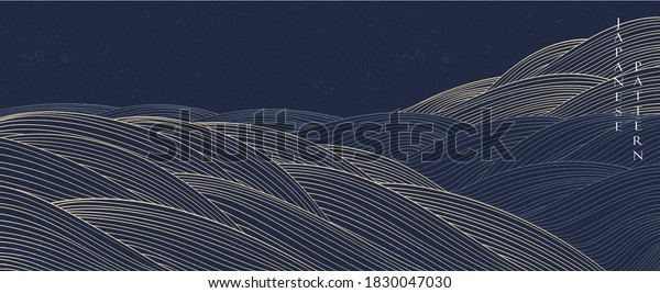 Abstract background in oriental style. Chinese new year banner. Line pattern with Japanese pattern vector. Wavy shapes in oriental template. Mountain layout design.