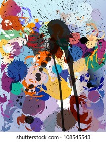 abstract background, paint splashes and strokes