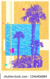 Abstract Background With Palm Tree. Resort Landscape. Vector Illustration.