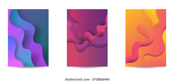 Abstract background paper in blue. A4 abstract color 3d paper art illustration set. Contrast colors. Vector design layout for banners presentations, posters and invitations. Illusion of depth. Eps10.