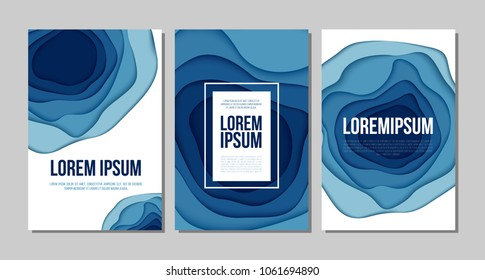 Abstract background with paper blue shapes. Layered wave background for business presentations, flyers, posters, broshures, covers and other. Vector EPS10