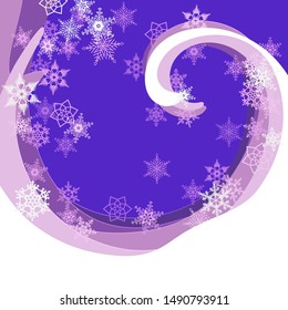 Abstract background in paper cut style. A whirlwind of snow waves. a whirlwind of snowflakes. New year night. Vector illustration