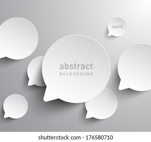 Abstract background of paper speech bubbles. Social, communication, information, chat. Clean and modern style design