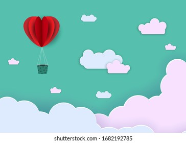 Abstract background in paper style. Red hearts, balloons on a green background. Vector