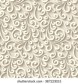 Abstract background with paper swirls, vector seamless pattern, eps10