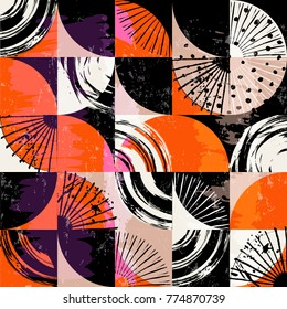 Abstract background pattern, with circles, dots, squares, strokes and splashes