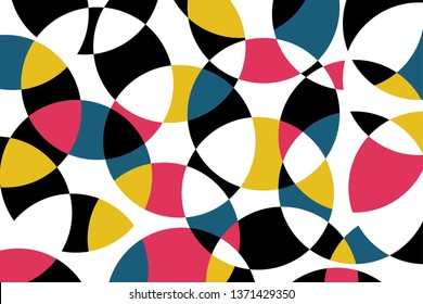 Abstract background pattern made with circular geometric shapes in blue, red, yellow and black colors. Colorful, playful, trendy and modern vector art.