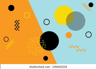 Abstract background pattern made with geometric shapes in Memphis style. Modern, playful vector art. Yellow and black colors are on blue / orange background.