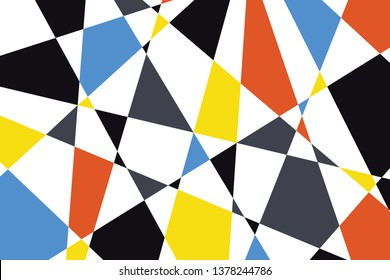 Abstract background pattern made with triangular and trapezoidal geometric shapes in blue, orange, yellow, grey and black colors. Colorful, trendy, playful and modern vector art.