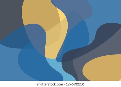 Abstract background pattern made with wavy, geometric organic shapes in yellow, blue and green colors. Modern, lively vector art.