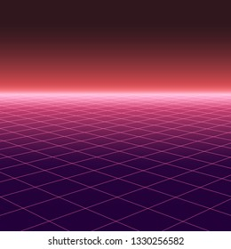 Abstract background with perspective in retro style 1980-1990s. Digital futuristic design. Grid neon surface with glowing effect.