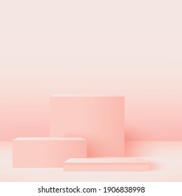 Abstract background with pink geometric 3d podiums. Vector illustration.