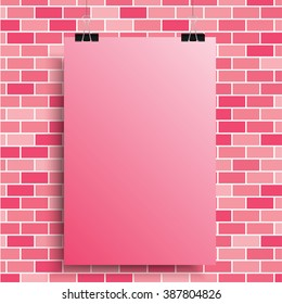 Abstract background. A pink poster on a pink wall. EPS 10.