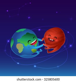 Abstract background - planets Earth and Mars in space. Red planet, vector illustration.