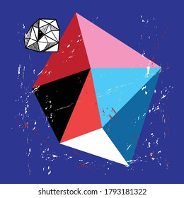 Abstract background with polygons and rhombuses. Example for website or poster design.