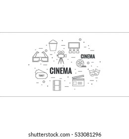 Abstract background with popcorn,  camera, film reel, mask,  clapboard, 3D glasses and  tickets.