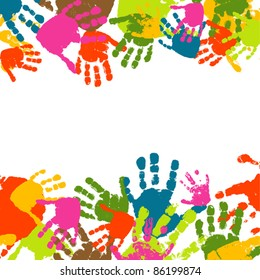 Abstract background, prints of hands of the child, vector illustration.