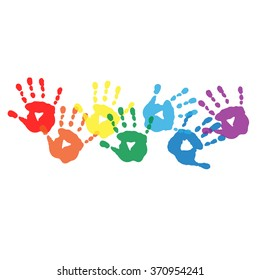Abstract background with a rainbow colored handprints