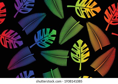 abstract background rainbow leaves of tropical plants on black background