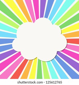 Abstract background with Rays and cloud frame. Vector illustration.