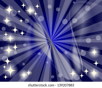 Abstract background with rays and sparkling stars. 10eps. Vector illustration.
