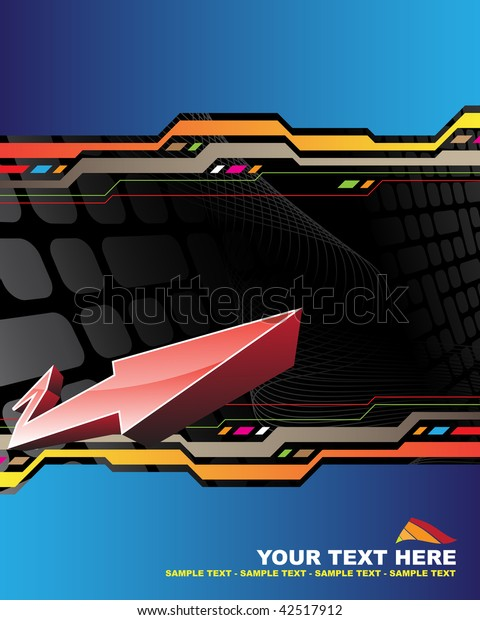 Abstract background with red arrow