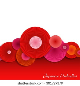 Abstract Background with Red and Pink Japanese Umbrellas. Bright Vector Background with Decorative Circles.