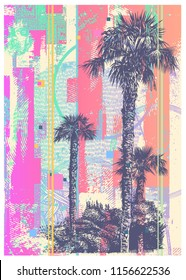 Abstract Background Resort Landscape With Palm Tree. Vector Illustration.