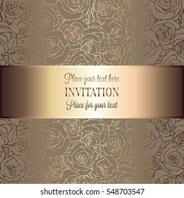 Abstract background with roses, luxury beige and gold vintage tracery made of roses, damask floral wallpaper ornaments, invitation card, baroque style booklet, fashion pattern, template for design.