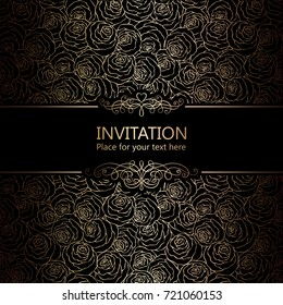 Abstract background with roses, luxury black and gold vintage frame, victorian banner, damask floral wallpaper ornaments, invitation card, baroque style booklet, fashion pattern, template for design