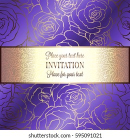 Abstract Background With Roses Luxury Royal Purple Violet And Gold Vintage Frame Victorian
