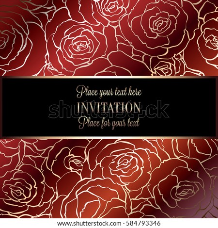 Abstract Background With Roses Luxury Royal Red And Gold Vintage Frame Victorian Banner