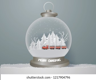 Abstract background with Santa Claus driving Vintage Transportation Train runs on the middle of the forest in winter season,Merry Christmas concept ,paper craft style and illustration