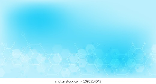 Abstract background of science and innovation technology. Technical background with molecular structures and chemical engineering